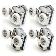 4pcs-8pcs/set Shower Door Rollers Runner 23mm/25mm Zinc Alloy Double-Wheels Replacement Sliding Shower Door Roller Bearing Wheel