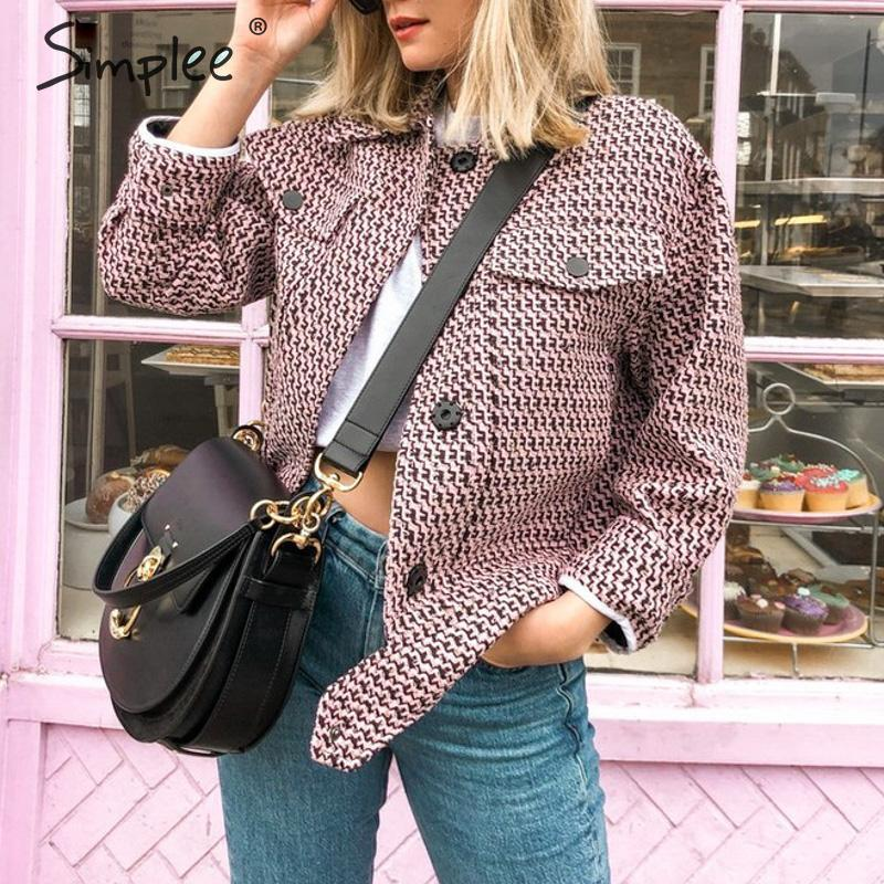 Best Deal═Simplee Jackets Coats Button-Pockets Plaid Houndstooth Chic Women Streetwear Female Ladies