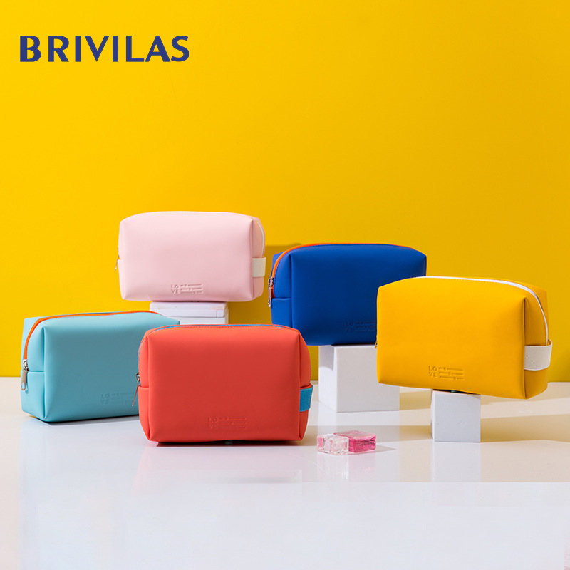 Brivilas Pu Mini  Travel Cosmetic Bag Waterproof Cute Candy Colors  Women Makeup Bags Portable Storage Fashion High Quality  Box