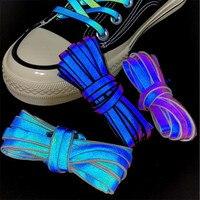 Cordones reflectantes holográficos de 120cm para hombre y mujer, cordones de zapatos que brillan en la oscuridad, zapatillas deportivas, soga para calzado