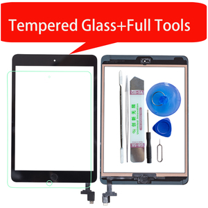 For iPad Mini1 mini2 A1432 A1454 A1455 A1489 A1490 Touch Screen Digitizer +IC Chip Connector Flex+Key Button+Tempered glass(China)