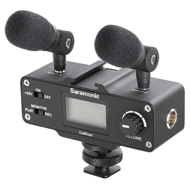 Saramonic Camixer Microphone vidéo double condenseur stéréo mélangeur numérique 48V alimentation fantôme préampli pour appareils photo et caméscopes Dslr