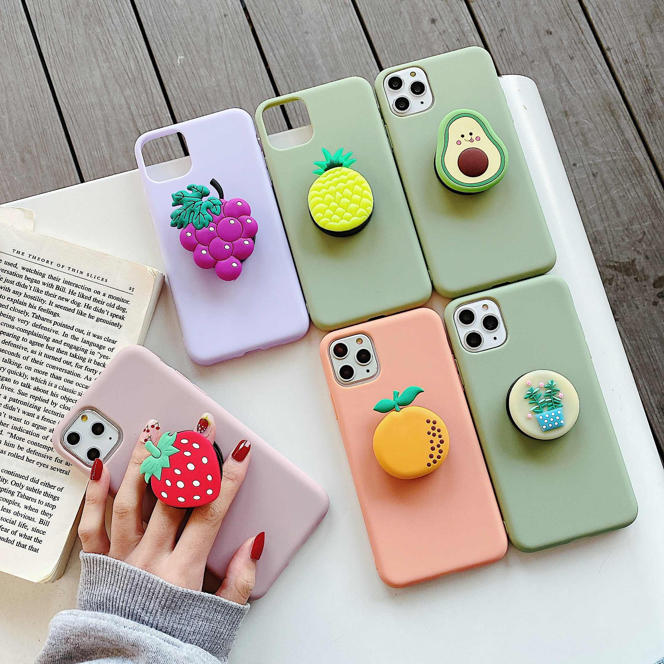 3D Cartoon Fruit avocado holder Soft phone case for iphone X XR XS 11 Pro Max 6 7 8 plus cover for samsung S8 S9 S10 20 Note