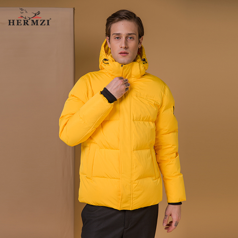 HERMZI 2020 Men Winter Jacket Cotton Padded Coat Parka Men Thick Warm Winter Jackets Coats Yellow Detachable Hood Russian Size