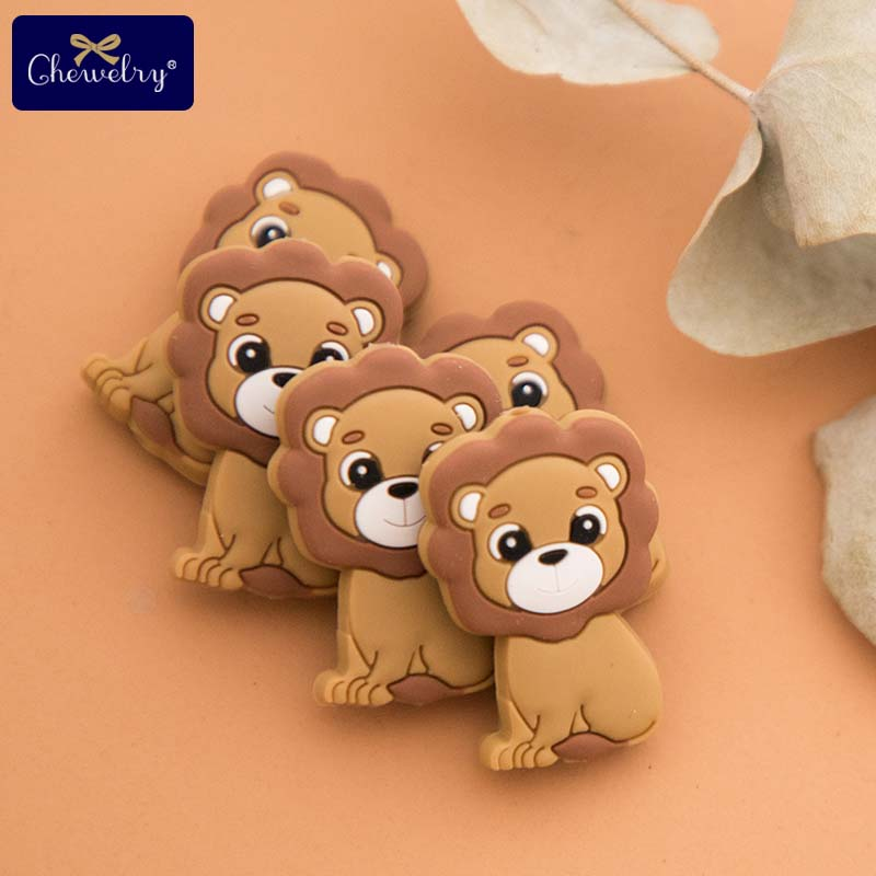 3PC Silicone Teether Beads Lion Baby Toy DIY Pacifier Chain Necklaces Pendant Bite Chew Bite Chew Rodent For Teething Kids Toys