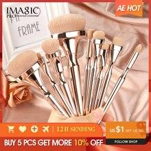 IMAGIC 9 makyaj fırçası seti yumuşak naylon saç Partij karıştırma fırçası metalik saplı Maquillaje Profesional Oogschaduw alet takımı