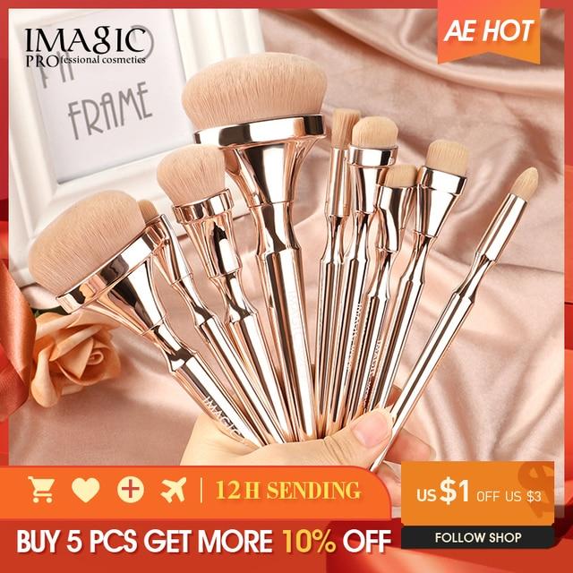 IMAGIC 9pcs 메이크업 브러쉬 키트 소프트 나일론 헤어 Partij 블렌딩 브러시 메탈릭 핸들 Maquillaje Profesional Oogschaduw Tools Set