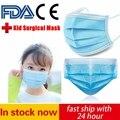 Одноразовые детские хирургические маски 3 слоя фильтрации из нетканого материала с защитой от пыли для лица Защитная маска для лица, Управл...