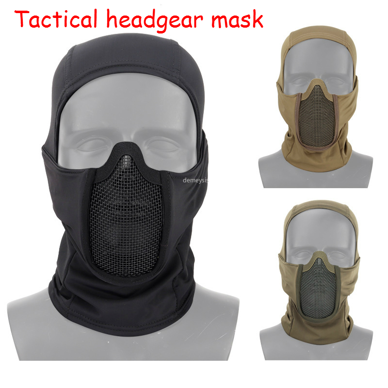 Tactical Headgear Mask Breathable Steel Mesh Military Airsoft Paintball Headgear Outdoor Hunting Shooting CS Protective Mask