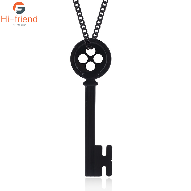 HOT Movie Coraline Necklace Button Key Skull Pendants High quality Black enamel Accessories Men Jewelry Gift for Movie fans|Pendant Necklaces|   - AliExpress