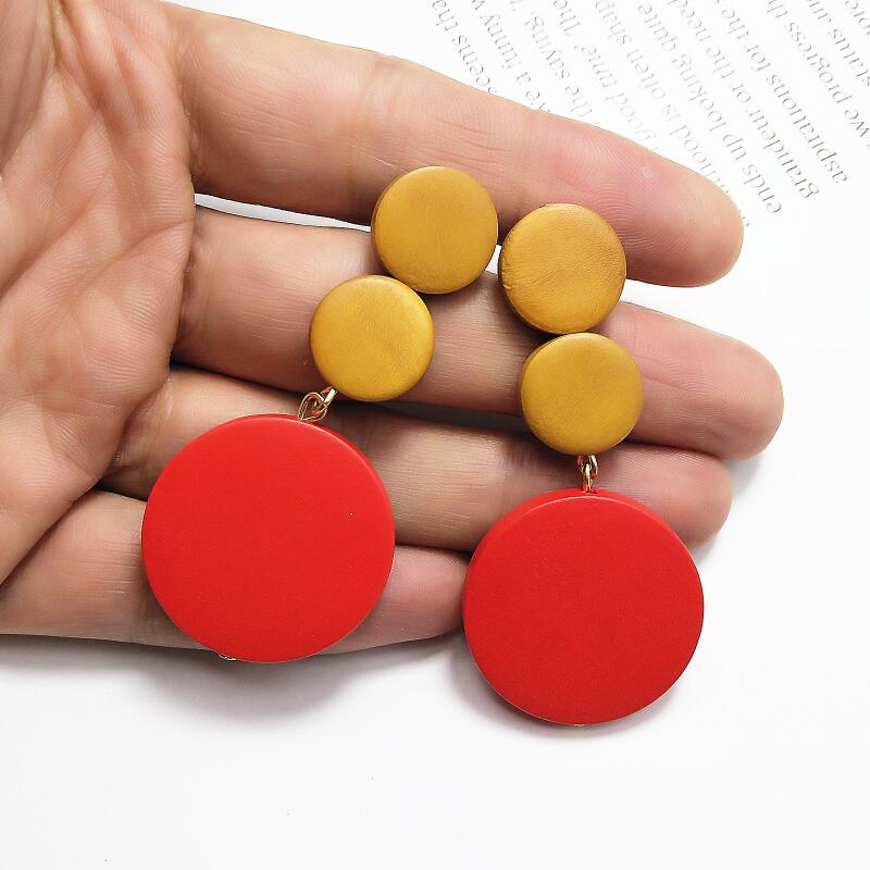 New Vintage Big Drop Earrings Charms Long Handmade Three Round Wooden Earrings Fashion Jewelry Gift Statement Earrings For Women