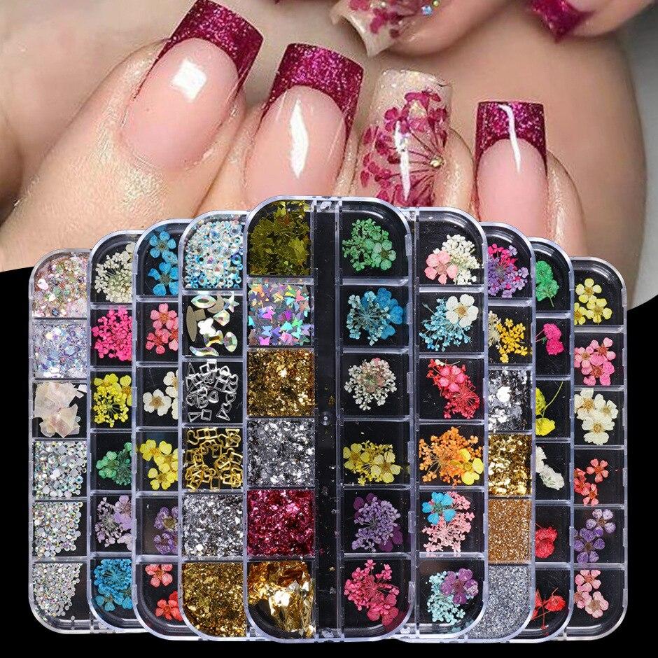 Смешанные сушеные цветы украшения для ногтей украшения натуральные Цветочные наклейки в виде листьев 3D дизайн ногтей вечный цветок высуше...