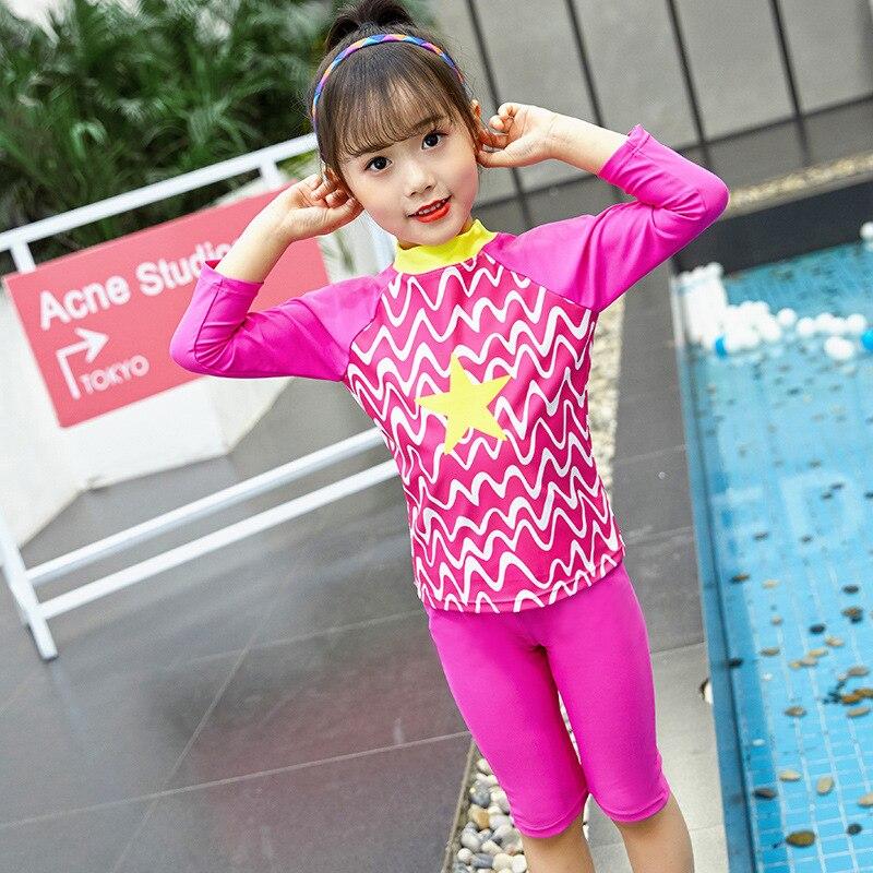 Hot Springs CHILDREN'S Swimwear Diving Suit GIRL'S Swimsuit Long Sleeve Split Type Boxer Big Boy Princess Sun-resistant Waterpro