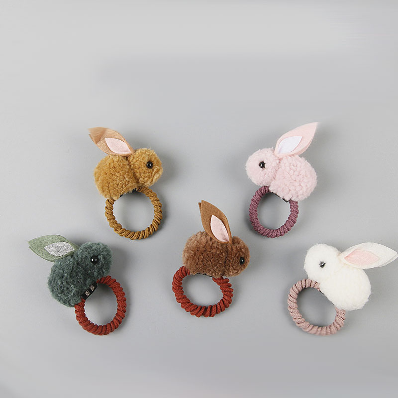 Cute Plush Rabbit Bunny Ears Baby Girls Elastic Hair Rubber Band For Kids Hair Rope Ring Headdress Headwear Children Accessories
