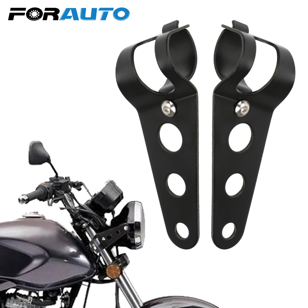 FORAUTO 1 Pair Motorcycle Headlight Bracket Front Lamp Carrier  Stainless Steel Universal Motorcycle Accessories