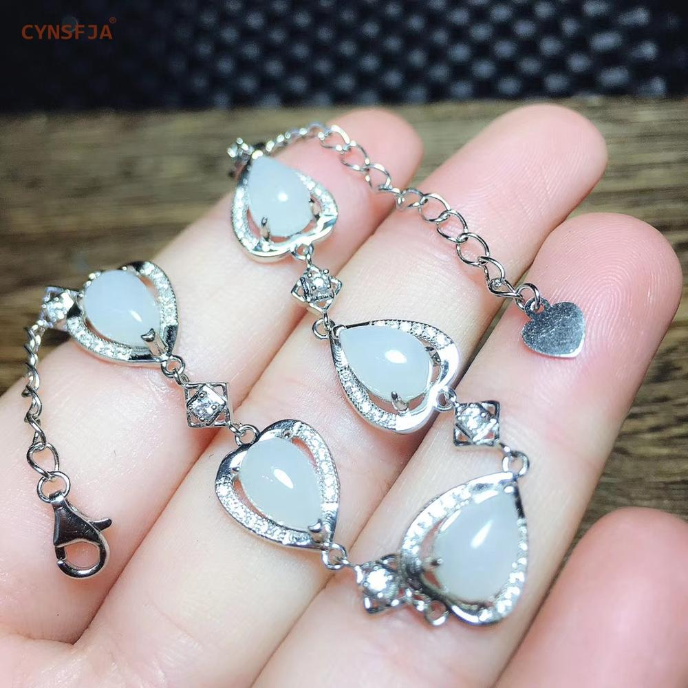 CYNSFJA Real Certified Natural Hetian White Jade 925 Sterling Silver Fine Jewelry Amulets Lucky Heart Jade Bracelet  Best Gifts