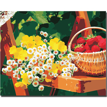 WEEN White Flower Strawberry-DIY Painting By Numbers Kit,Acrylic Paint,Wall Art Picture,Hand Painted Oil Canvas 40x50cm