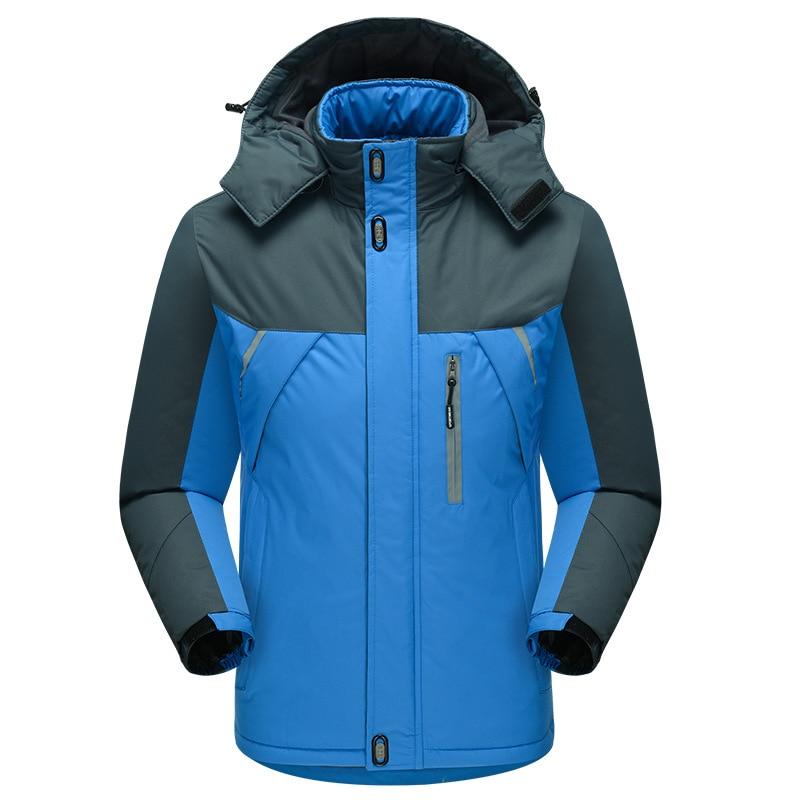 Male Blue Oversize 5XL Overcoat Outdoor Hooded Parka Jacket Winter Warm Snow-outwear Thick Coat Zipper Casual Tops