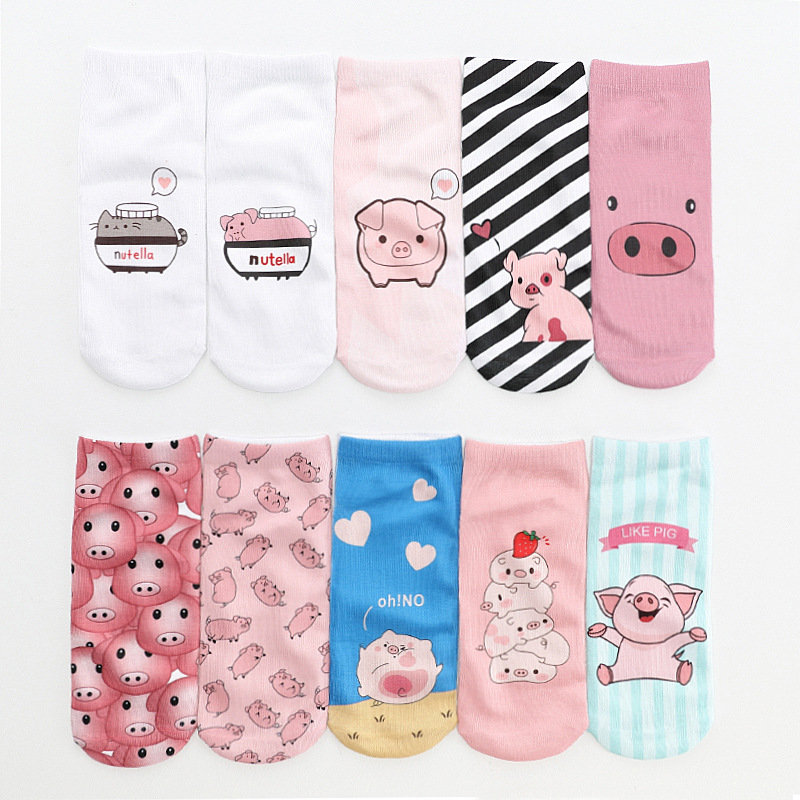 Japanese Kawaii Cartoon Pig / Peanut Butter / 3D Digital Print Flower Women Socks Korean Harajuku Pink Unicorn Cute Socks22509