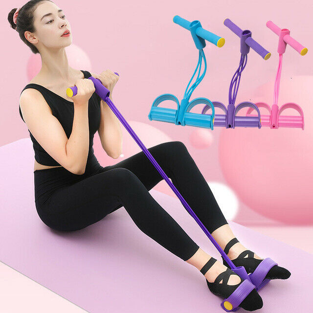 Fitness Elastic Sit Up Pull Rope Abdominal Exerciser Equipment New Four Tubes US