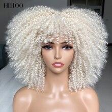 Афро кудрявые вьющиеся парики с короткими волосами с челкой для чернокожих женщин Косплей Лолита синтетический натуральный блонд Белый Ро...