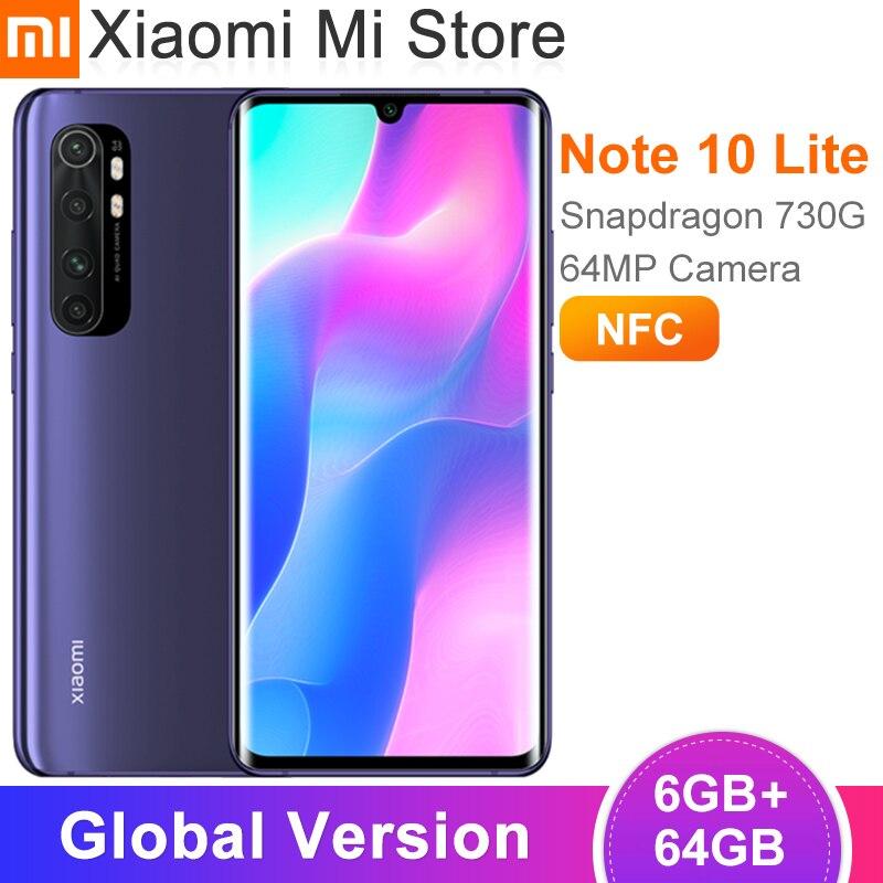 """Xiaomi Mi Note 10 Lite, versión Global, 6GB y 64GB, Snapdragon 730G, cámara de 64MP, pantalla de 6,47 """", NFC, 5260mAh Teléfonos móviles  - AliExpress"""