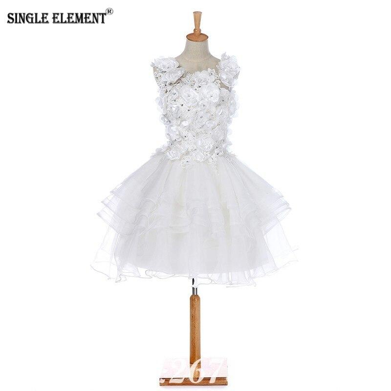 SINGLE ELEMENT Real Wedding Dresses Flowers Short For Bride