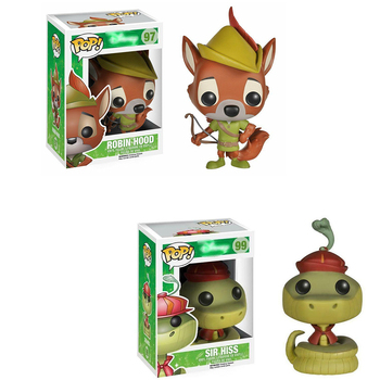Funko Pop Robin Hood Sir Hiss ROBIN HOOD 10cm Vinyl Action Figures Brinquedos Collection Model Toys for Children Gifts
