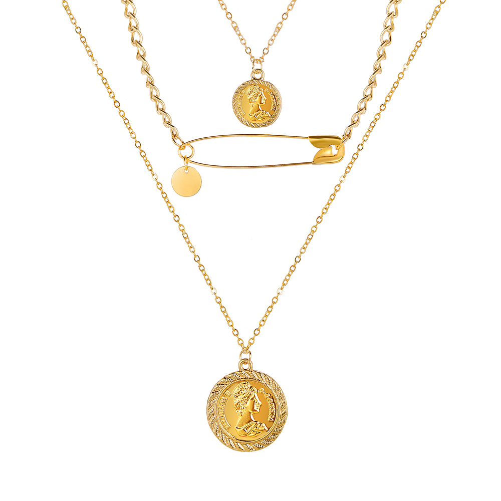Multi Layer Lock Pendant Choker Necklace For Women Fashion Gold Necklace Vintage Bohemian Coin Pendant Necklace Jewelry Gift