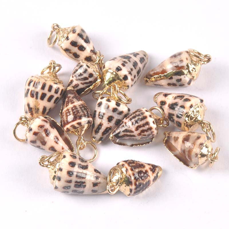Natural Spot Spiral Shell Golden Plated For DIY Handmade Charm Pendant SeaShells Home Decoration 5pcs Trs0349