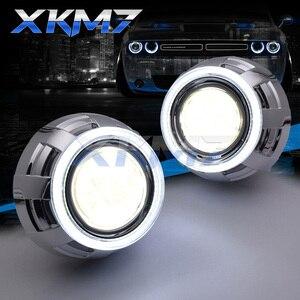 Ангельские глазки Би-ксеноновые линзы 3,0 для H4 H7 автомобильный светильник с головкой линзы светодиодный Halo полностью металлический объекти...