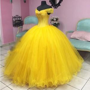 Angelsbridep Ball Gown Quinceanera Dresses 2020 Tulle Corset Princess Vestidos 15 Anos Yellow Romantic Debutante Sweet 16 Dress(China)