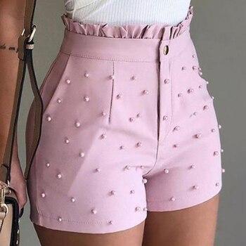 pink womens shorts high waist shorts ladies ruffle casual shorts