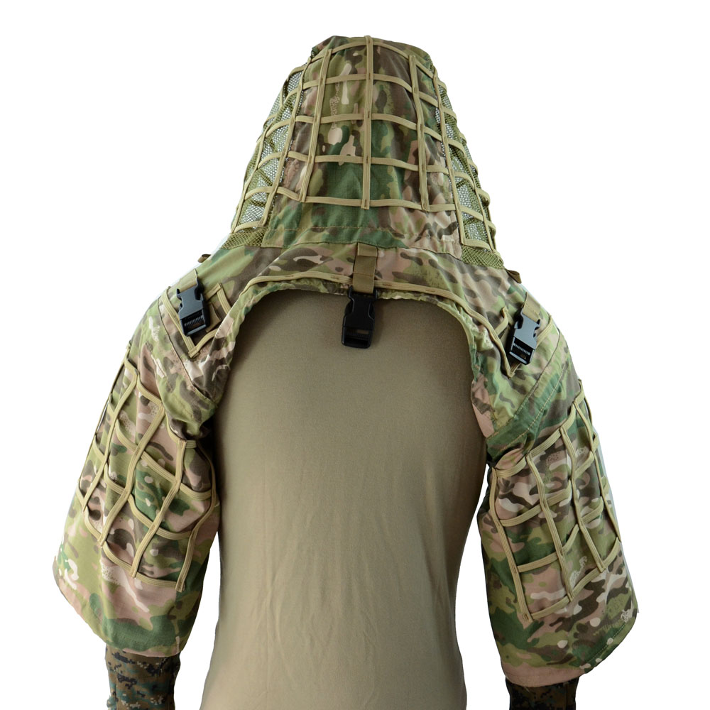 Camouflage Suit Vest With Hat Men Tactics Snipers Wear-resistant Breathable Sport Clothing Hunting Lattice Ghillie Suit