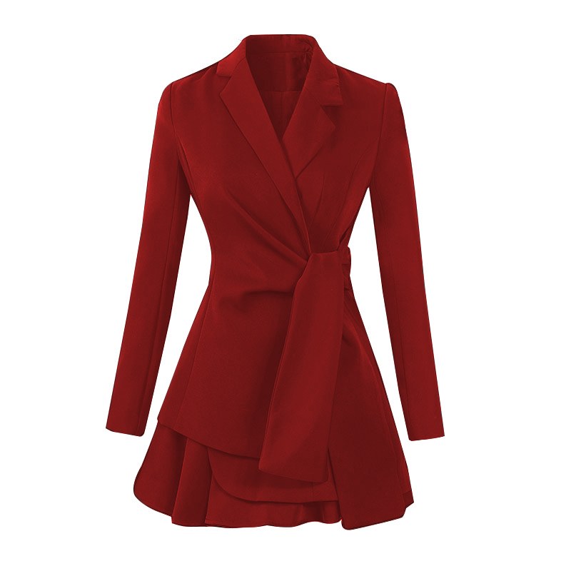 Autumn Notched Solid Casual Office Blazer Skirt Women Two Piece Sets Work Suits Dress 12