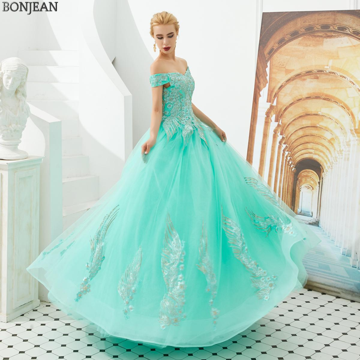 US $128.7 35% OFF|Turquoise Ball Gown Prom Dresses Appliqued Lace Off The  Shoulder Plus Size Puffy Prom Dress Plus Size Formal Dress Women Elegant-in  ...