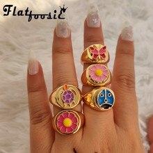 Flatfoosie Trendy nowe kwiaty Daisy emalia pierścionki dla kobiet złoty kolor Cute Animal Butterfly Heart Rings 2021 koreańska biżuteria prezent