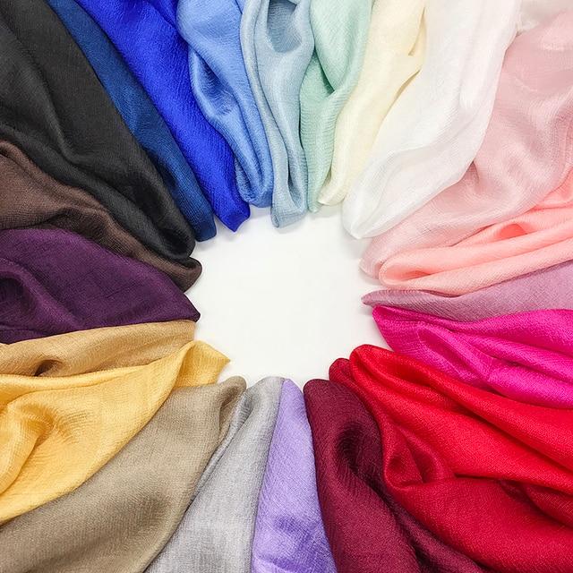 Panie muzułmański hidżab gorąca sprzedaż jedwabne szale kobiety shalws w jednolitym kolorze gładka okłady pałąk Pure color chustka długi tłumik 10 sztuk/partia