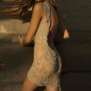 Image 2 - Vestido corto femenino de encaje con espalda descubierta para verano, minivestido sexy para mujer, con espalda descubierta, color champán, sukienka koktajlowa, 2021