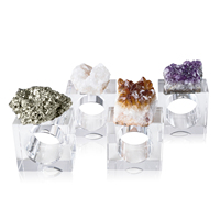 4PCS High Grade Crystal Napkin Rings Amethyst Cluster Agate Napkin Rings Set for Weddings Party Christmas Table Decoration