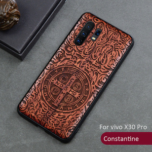Image 3 - 3D Carved Wood Case For vivo X30 Pro Tree wooden Pattern Embossment carve Cover