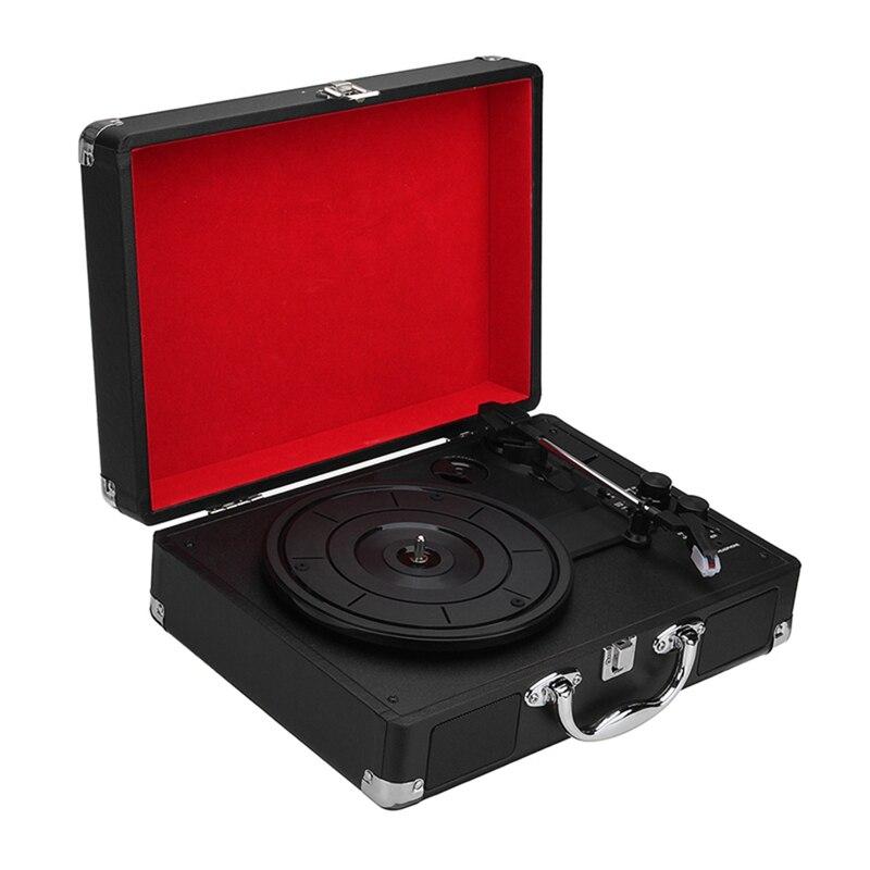 Tüketici Elektroniği'ten Turntablelar'de Ab tak 33/45/78 Rpm Bluetooth taşınabilir bavul Turntable vinil Lp kayıt telefon çalar 3 Speed aux in Line Out 100 240V (siyah) title=