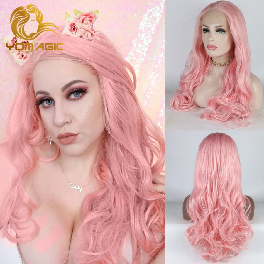 Yomagic Pastel Pink Synthetic Lace Front Wigs For Women Party Body Wave Heat Resistant Fiber Glueless Lace Wig With Baby Hair