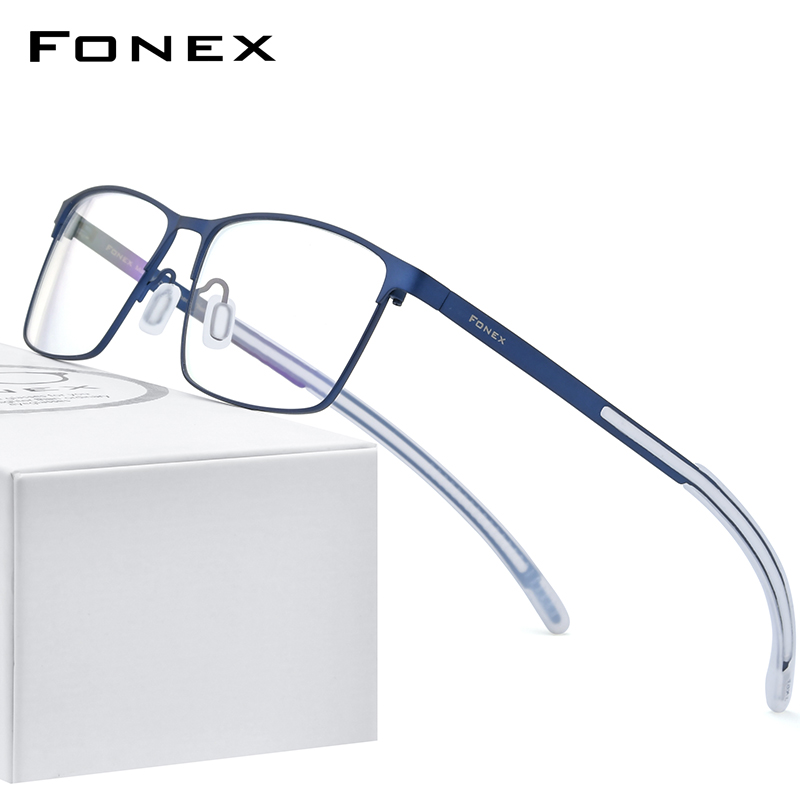 FONEX Pure Titanium Eyeglass Frame Men Square Myopia Optical Prescription Glasses 2020 New High Quality Silicone Eyewear 8521