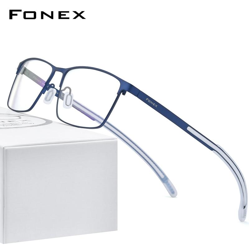 FONEX Pure Titanium Eyeglass Frame Men Square Myopia Optical Prescription Glasses 2020 New High Quality Silicone Eyewear 8521