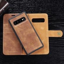 Funda cartera desmontable a prueba de golpes genuina para Samsung S10 S9 S8 Plus, Funda de cuero con tapa S10e Note8 Note9 S7 edge, funda de negocios