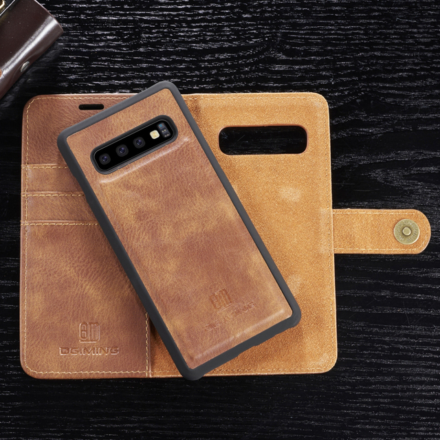 Genuine Shockproof Removable Wallet Case For Samsung S10 S9 S8 Plus Flip Leather Cover S10e Note8 Note9 S7 edge Business Coque