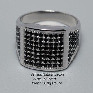 Image 2 - 925 סטרלינג כסף Mens שחור CZ אבן טבעת יוקרה גברים של חתונה טבעות מיקרו סלול מעוקב זירקון טורקיה תכשיטי אנל masculino
