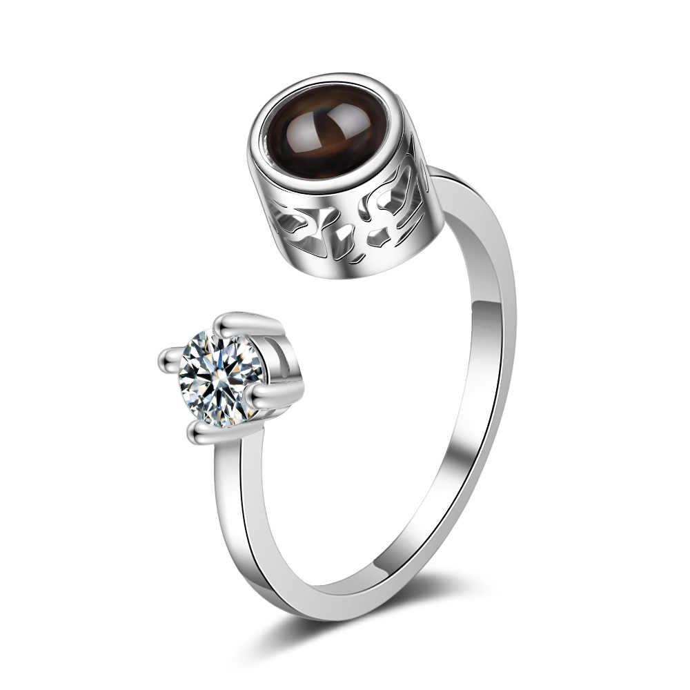 פתיחת רוז פרח טבעות לנשים בציר אופנה איילים הקרנת טבעת Femlae 100 שפות אני אוהב אותך טבעות לנשים מתנות