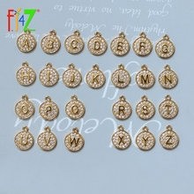 Jewelry Finding Necklace Earrings Making Crystal 26-Letters charms Brass DIY Zircon Initials